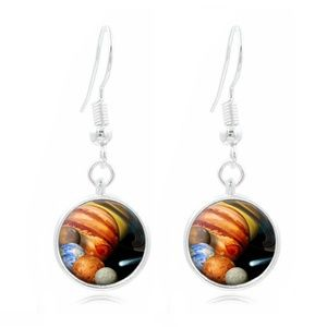 Solar System glass Frea Earrings Art Photo
